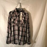 I Jeans By Buffalo Mens Button Front Shirt Multicolor Plaid Long Sleeve XL New