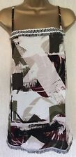 NEW* NEXT* Khaki Cream Wine Geometric Print Raw Edge RACER CAMI TOP. SIZE 22