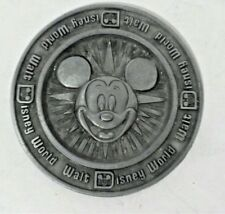 Vintage Mickey Mouse Walt Disney World Pewter Metal Coaster Disneyland