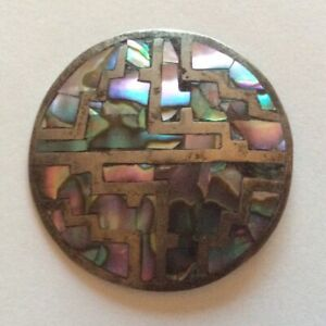 """VINTAGE 1950s/60s STERLING SILVER BOLO TIE CENTRE PIECE ABALONE INLAY 1 3/4"""""""