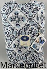 John Robshaw Palita Lapis Standard Cotton Quilted Pillow Sham White / Indigo