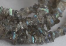 "LABRADORITE LONG LINE NECKLACE 41"" LENGTH ~ SILVER PLATED"