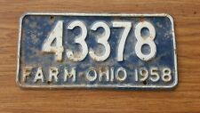 License Plate Tag Vintage Ohio 43378 Farm 1958 Rustic USA