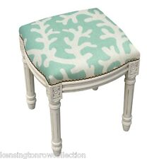 STOOL - CORAL SEA UPHOLSTERED STOOL - VANITY SEAT - AQUA BLUE LINEN SEAT CUSHION