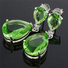 Peridot Tear Drop Bridal Earrings Prom Earrings  Celebrity Inspired By Angelina