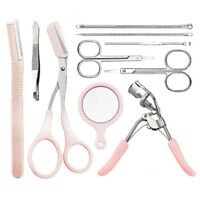 10Pcs Women Eyebrow Grooming Tools Kit Tweezers Trimmer Scissors Set ZkIpd