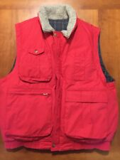 Abercrombie & Fitch Vest Down Feather Puffer Vtg 80s REVERSIBLE Red Mens LARGE