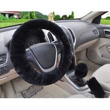 3Pcs/set Winter black soft warm plush car steering wheel cover handbrake coverLI