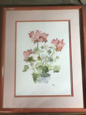 """Nice """"Flowering Plant Scene"""" Watercolor Painting - Signed And Framed"""