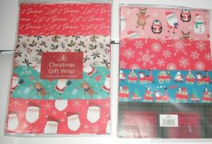 8 SHEETS CHRISTMAS GIFT WRAP WRAPPING PAPER 8 ASSORTED DESIGNS FLAT WRAP