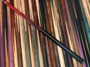 TNT Over Sized Full Splice Pool Cue Blank. Ebony / Red Dyed Stabilized Maple.