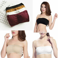 Women Strapless Push Up Padded Bra Bandeau Tube Top Removable Pads Seamless Crop