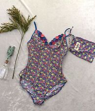 Boden Multi Color Floral Retro One Piece Swimsuit Bathing Suit US10 UK14