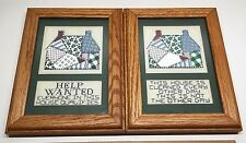 "Set, 6.25""x 8.25"" Sewn & Cross-Stitch Framed Pictures, House Cleaning Quotes"