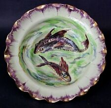 Antique Zulimo Arentini Handmade & Painted Scalloped Bowl w Fish Italy 12""