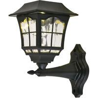 """PACK OF 4 WALL SCONCES LED SOLAR OUTDOOR STURDY PLASTIC BLACK PORCH LIGHTING 8"""""""