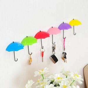 3Pcs Color Umbrella Shape Wall Stick Hook Key Holder Organizer Decor Hanger New