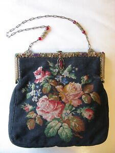 Antique Gold Purple Jewel Enamel Frame Black Wool Floral Rose Petit Point Purse