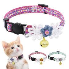 Floral Breakaway Cat Collar Quick Release Adjustable Pet Kitten Collars & Bell