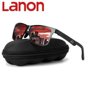 LANON Herren Polarisiert Sonnenbrille 100% UV400 -Polycarbonat  Pilotenbrille
