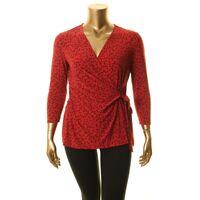 ANNE KLEIN NEW Women's Camille Dot 3/4 Sleeve Wrap Blouse Shirt Top TEDO