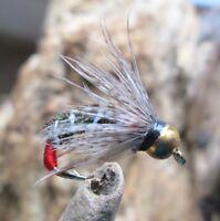 Gilchrist Fliegen. 3 x Goldkopfnymphen GREY PARTRIDGE. Auswahl von Größen