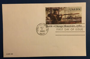 United States Post Card of Battle of Kings Mountain. First Day of Issue. MNH.