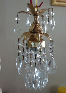 """small lily lamp Chandelier Crystal prism Brass Tole Pendant fixture 25"""" cord"""