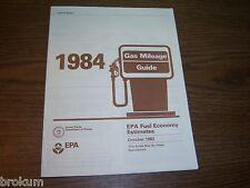 MINT 1984 GAS MILEAGE GUIDE EPA FUEL ECONOMY ESTIMATES NEW