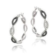 1/5ct Black Diamond Black & White Marquise Hoop Earrings