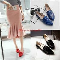Womens Shoes Patent Leather Slip On Loafers Pointed Toe Oxfords OL Flat Shoes