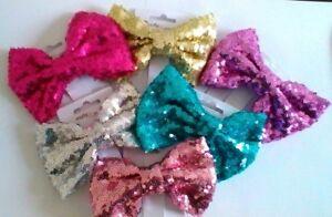 12cm Sequin Hair Bow - Choice of 6 Colours