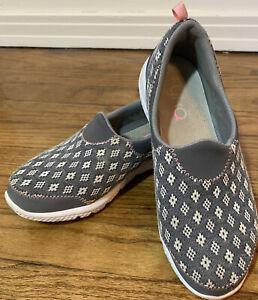 Ryka HENLEY Womens Slip-On, Gray/Pink pattern Shoes, Lightweight, Size 7W