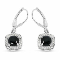 2.44 ct Black & White Diamond Drop Earrings With 14k White Gold Over Silver