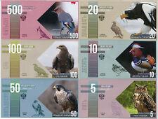 RED BOOK RUSSIA SET 6 BIRD SERIES UNC 2015 2016 HAWK OWL MANDARIN DUCK GRIFFON