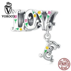 Genuine 925 Sterling Silver dimensional letters Charm Fit Women Bracelets VOROCO