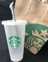Starbucks Reusable Venti Frosted Cup w/ Individual Straws And Lids