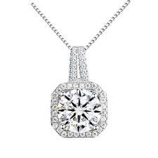 Luxury Argento e Bianco Strass Quadrato Pendente Collana Decorazione collo n434