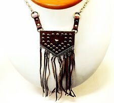 "Studded Leather Purse 26"" Women's Fashion Necklace"