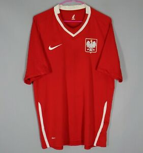 POLAND NATIONAL TEAM 2008/2009/2010 AWAY FOOTBALL SHIRT SOCCER JERSEY NIKE Sz L