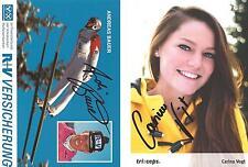 2 Autogramme Carina Vogt WM + Andreas Bauer Bundestrainer Frauen Skispringen