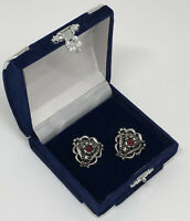 Vintage Clip On Earrings Silver Tone Filigree Design Ruby Glass Centre Pretty