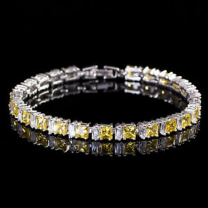 New Square Cut Mixed Yellow Citrine White Topaz Gems Silver Bracelets For Women