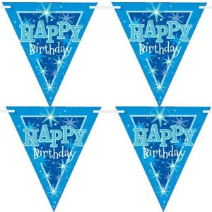 Blu Sparkle Happy Birthday Carta Bandiera Striscione