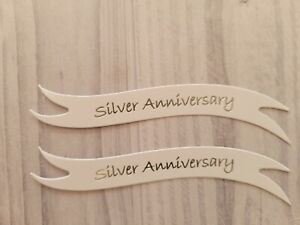 Pack of 10/20  Silver, Ruby, Golden Anniversary die cut banners card toppers