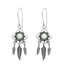 TJS 925 Sterling Silver Earrings Hook Antique Flower Feather Leaf Fire Snow Opal