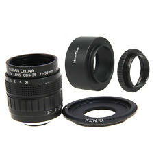 Fujian 35mm F1.7 CCTV Movie lens+C Mount +Hood to SONY NEX-5R A6500 A6300 A6000
