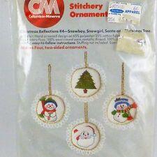 Vintage Columbia-Minerva Crewel Embroidery Christmas Ornament Kit-Santa, Snowman