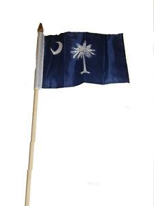 "6x9 6""x9"" State of South Carolina Stick Flag wood Staff"