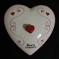 See's Candies Valentine Heart Covered Candy Dish